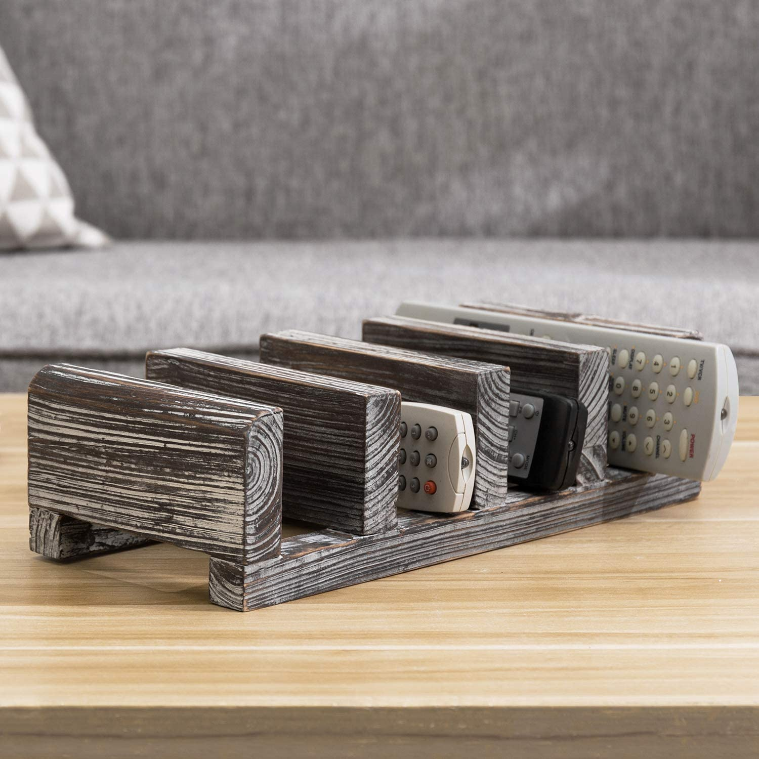 MyGift 4-Slot Torched Wood ! Super beauty product restock quality top! Tabletop Control Ultra-Cheap Deals Storage Rack Remote