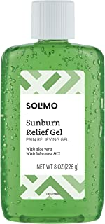 Amazon Brand - Solimo Sunburn Relief Gel with Aloe Vera, 8 Fluid Ounce