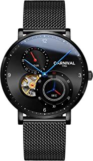 Carnival Men's Automatic Mechanical Watch with Steel Mesh Band