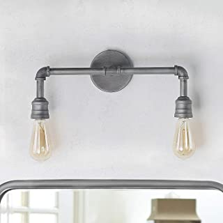 LNC A03373 Bathroom Light Fixtures, 2-Head Water Pipe Wall Sconce for Powder Dressing Room, Bedroom, Entryway