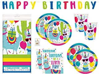 Llama Cactus Birthday Party Supplies Set Includes Dinner Plates, Cake Plates, Cups, Napkins, Tablecover and Banner Decoration (Deluxe with Tablecover/Banner - Serves 16)