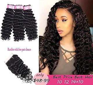 Deep Wave Bundles With Closure Brazilian Virgin Hair 3 Bundles With 4x4 Free Part Lace Closure 100% Unprocessed Human Hair Extension Natural Black Color (10 12 14+10)