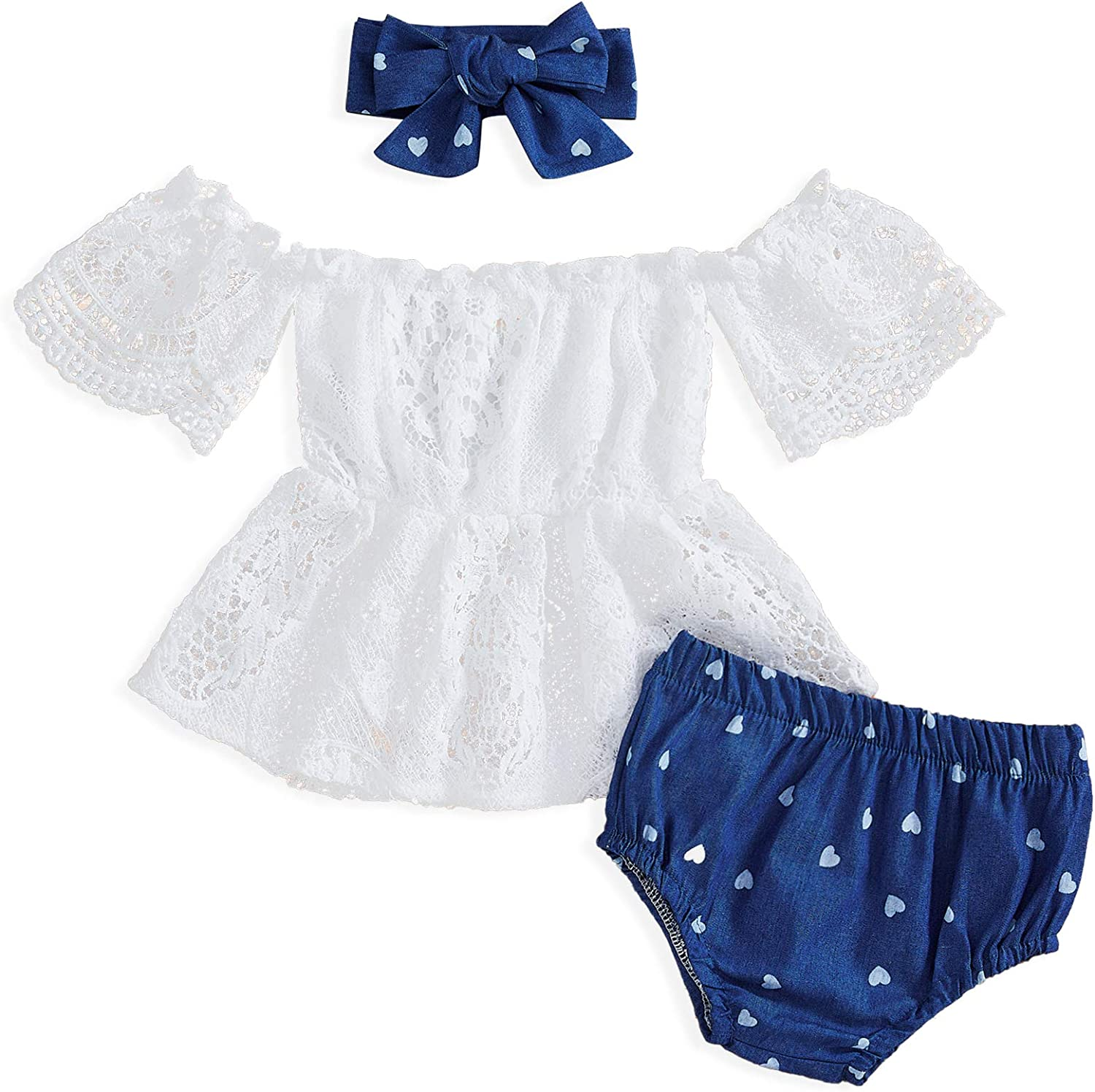 Baby Girl Summer Shorts Outfits Toddler Girl Lace Romper Jeans 2Pcs Clothes