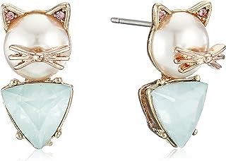Betsey Johnson Women's Pearl Critters Cat Stud Earrings