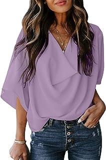 Dokotoo Womens Blouses and Tops Short Sleeve Chiffon Shirts and Tops