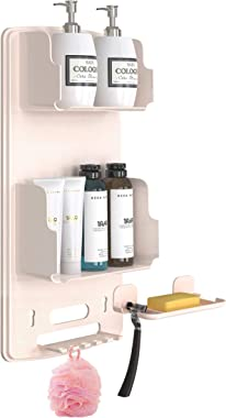 TROPICALTREE Shower Caddy - Plastic Shower Organizer Hanging, No Drilling Bathroom Organizer with 6Hook, Baffle Anti-Drop Des