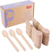 "Gmark 100 ct Wooden Spoons, 6.5"" Length, No Plastic Earth-Friendly, Disposable Biodegradable Wooden Cutlery, Green Product..."