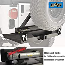 EAG Steel EZ Grip Rear Bumper with Secure Lock Tire Carrier Fit for 87-06 Jeep Wrangler TJ YJ