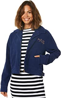 Afends Women's Womens Erin Bomber Cord Jacket Cotton Blue