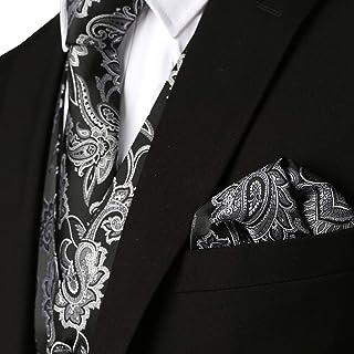 776d60197f1 MAGE MALE Men s 3pc Paisley Floral Jacquard Vest Waistcoat Necktie Pocket  Square Set for Suit or