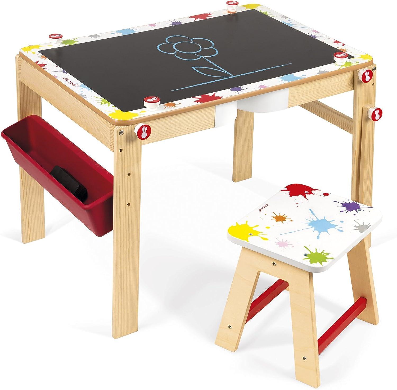 Janod J09609 Splash 2In1 ConGrünible Desk 2in1 Schreibtisch Holz (Wandelbar Als Tafel) mit Zubehr, mehrfarbig