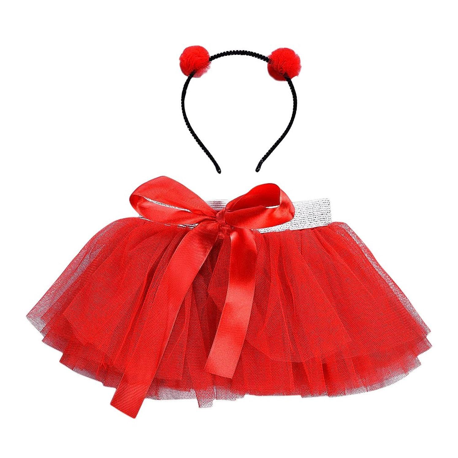 段落にやにや存在LUOEM 女の子TutuスカートセットヘッドバンドプリンセスガールTutuの服装赤ちゃん女の子Birthday Outfit Set(Red)
