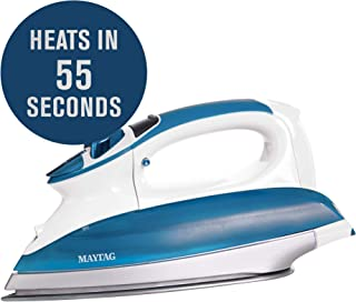 Maytag Digital Smart Fill Steam Iron & Vertical Steamer with Pearl Ceramic Sole Plate, Removable Water Tank + Thermostat Dial, White/Blue