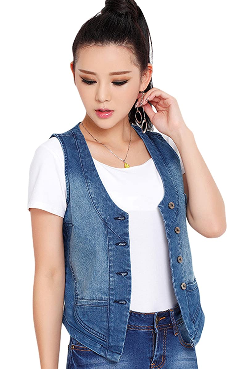 chouyatou Women's Stretchy V-Neck Button Up Unlined Denim Waistcoat Vest