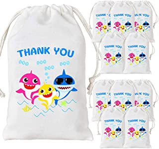12 Pack Shark Party Bags Supplies Shark Goodie Candy Treat Bags for Party Favors 1st 2nd Birthday Party Baby Shower