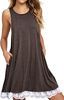 SHFZ Women's Lace Sleeveless Tunic Dress Pocket T Shirt Dress Sundresses Tank Dress