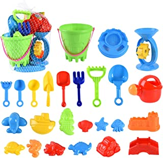XADP 25 Pieces Beach Sand Toys Set Sand Water Wheel,Beach Bucket,Watering Can,Sand Sifter,Tool Play Set, Shovels, Rakes, Sea Creatures, Castle Molds,Sand Molds for Girls and Boys