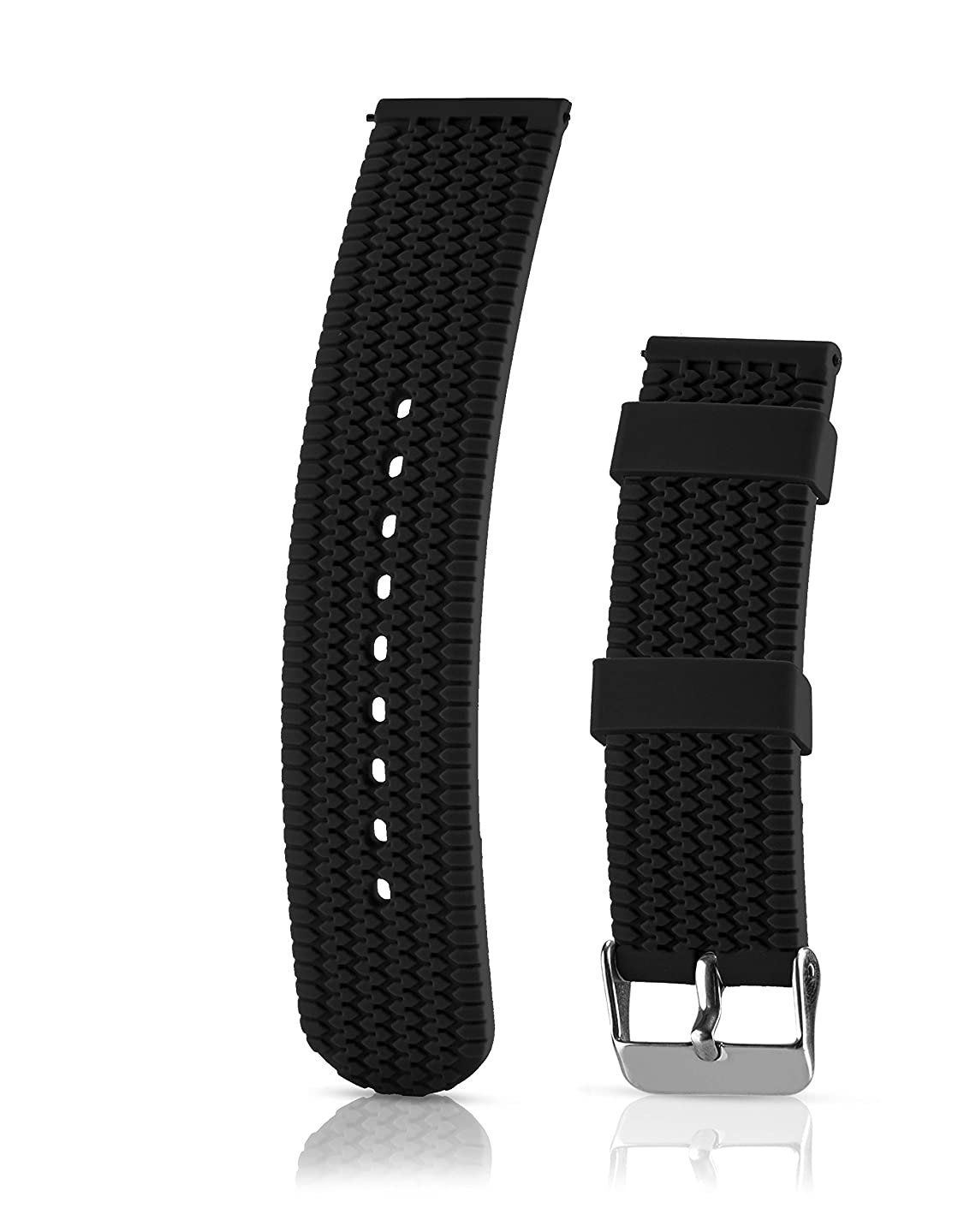 Silicone Replacement Watch Band - Quick Release Soft Rubber Strap - Waterproof, Textured Tire Pattern