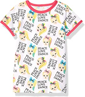 JoJo Siwa Girls' Big Peace Love Dance All Over Print Ringer Tee