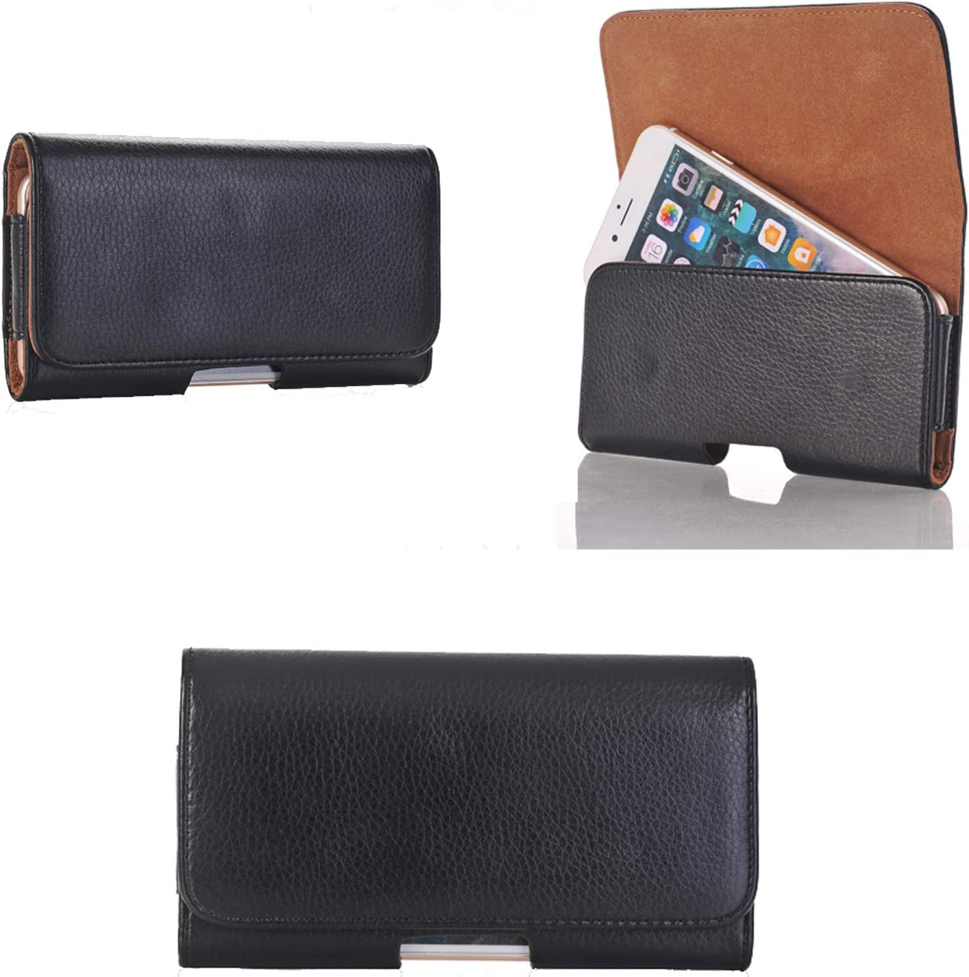 Faux Leather Horizontal Belt Case Holster Smart Phone Pouch Holder with Swivel Belt Clip for Samsung Galaxy A10 A20 A50 / LG V40, V35 ThinQ, K40 / Motorola Moto G7, G6, G6 Play, Z4, Z3 / Pixel 3a XL