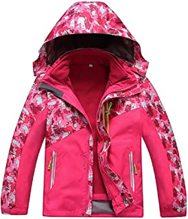 Vinmin Valentina Boys Girls Outdoor Winter Two-Piece Coat 3-1 Children Thicken Velvet Detachable Warm Quilted Jacket