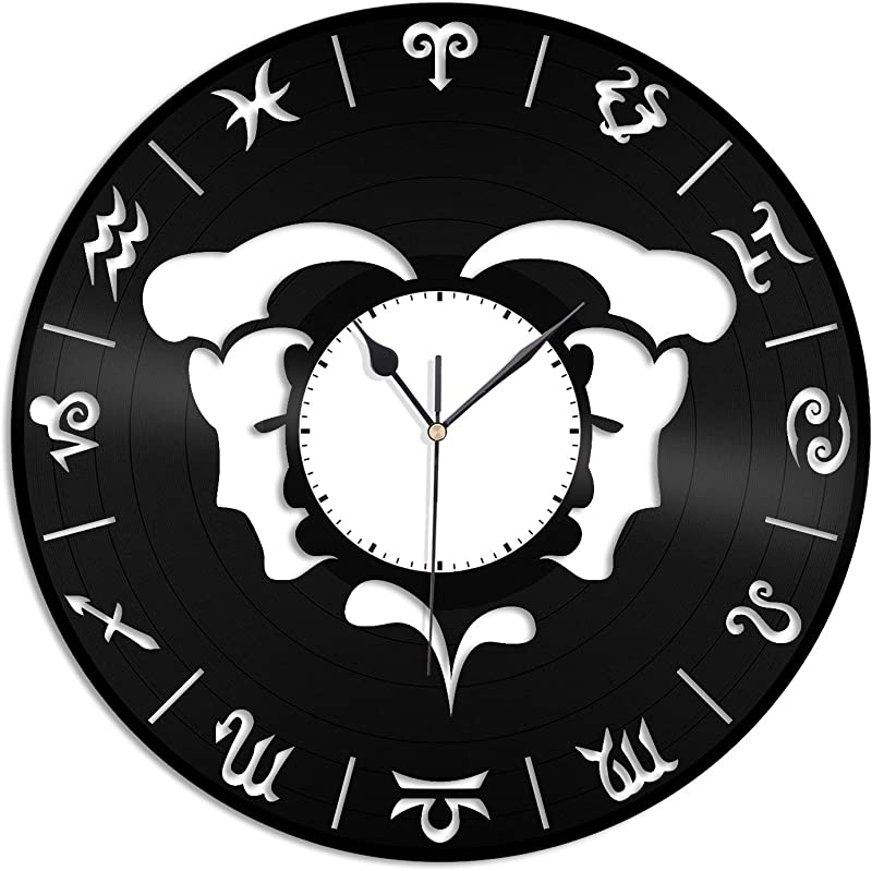 VinylShopUS Gemini Unique Zodiac Fashioned Vinyl Wall Clock For Home Decorative Unique Gift For Anniversary Home Decoration