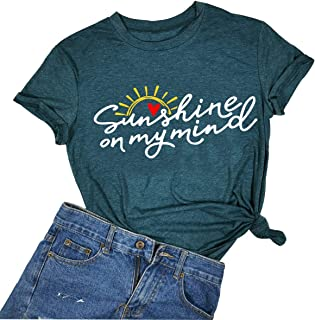 Sunshine on My Mind T Shirt Women Hello Sunshine Summer Vacation Letter Print Short Sleeve Top Tee