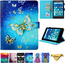 Folio Case for Kindle fire HD 8, JZCreater Slim Leather Standing Case Cover with Auto Wake/Sleep for All-New Fire HD 8 Tablet (2018 2017 and 2016 Release, 8th/7th / 6th Generation), Butterfly