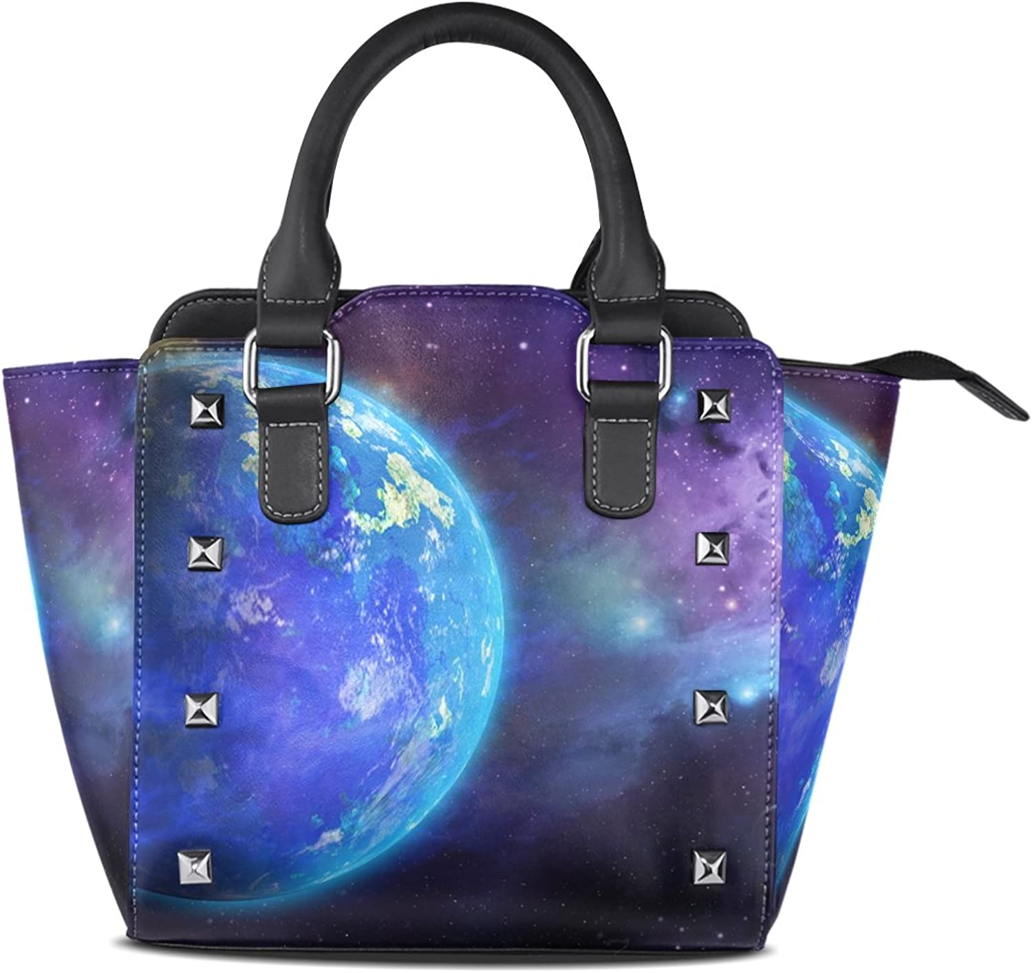 My Little Nest Women's Top Handle Satchel Handbag Ocean Planets and Stars Ladies PU Leather Shoulder Bag Crossbody Bag