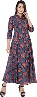 Monique Brand Women's Traditional Long Cotton Middi/Frock Dress (KR-BELL-XL, Multicolour, Free Size)