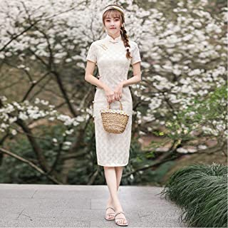 Embroidered Chiffon Hand-Buttoned Cheongsam Traditional Chinese Women'S Short Sleeve Dress