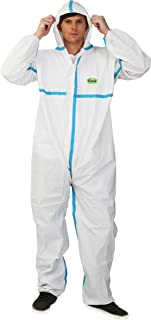 Raygard 30223 Disposable Chemical Protective Coverall Microporous Suit Taped Sealed Seams with Hood, Elastic Wrist, Ankles and Waist,Front Zipper Closure for Spray Paint Surgical(Large,White)
