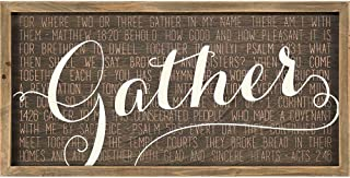 Dicksons Gather Acts 2:46 Mocha with Vanilla Script 20 x 10 Wood Wall Sign Plaque