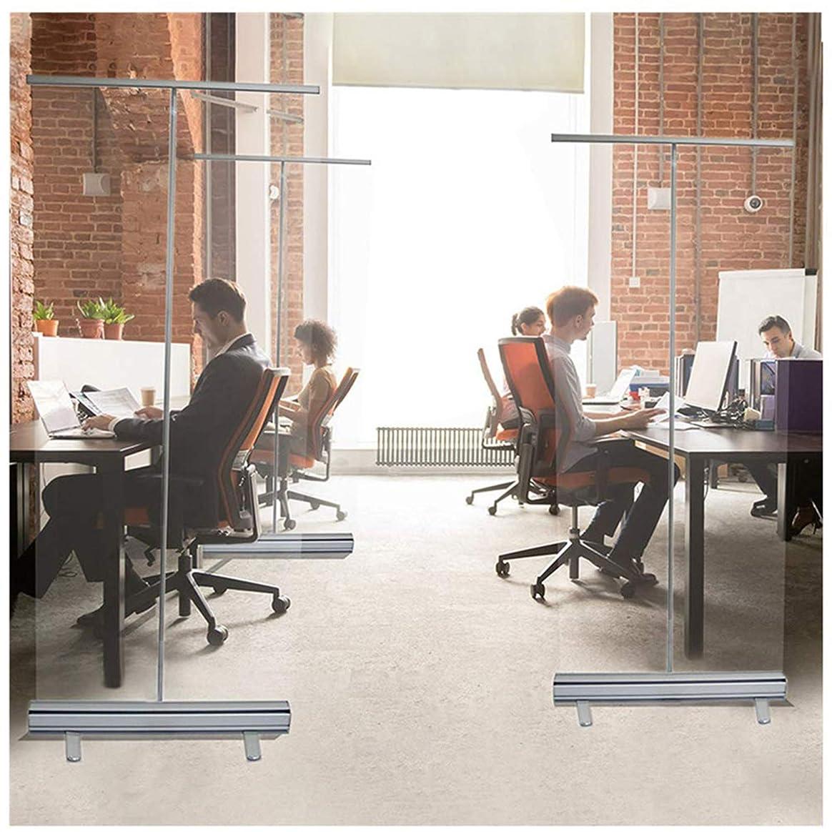 徴収タンパク質のヒープおおきい 床置き 教室の仕切り,60x160cm/100x200cmポータブル透明ローラーシャッターパーティション,オフィス、企業、商業および薬局のための保護スクリーンのアクリル板 に適しています。