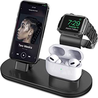 OLEBR 3 in 1 Charging Stand Compatible with iWatch Series 6/SE/5/4/3/2/1, AirPods Pro and iPhone Series 12/11 Series/Xs/X ...