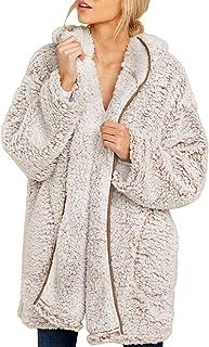 GOSOPIN Women Casual Zip Thick Jacket Pockets Furry Coat