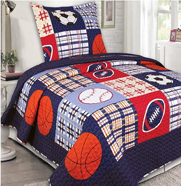 MK Home Collection Bedspread Set Boys Sport Football Basketball Baseball Dark Blue Twin