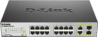 D-Link PoE Switch, 16 18 Port Ethernet Unmanaged w/ 2 1000BASE-T/SFP Gigabit Combo Port Desktop or Rackmount 10/100 246.4W...