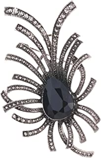 YAZILIND Broche de noche con diseño único de gota de agua con incrustaciones de cristal de metal pulpo