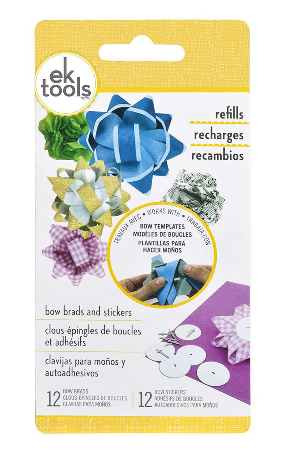 EK tools 54-07002 12 Count Handmade Gift Bow Brads and Stickers