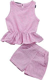 子供 上下セット服 キッズ Tシャツ ショーツ セット女の子 格子縞 ベストトップス ショートパンツ 2点セット 子供服 柔らかい おしゃれ カジュアル 七五三 入学式 卒業式 出産祝い 通園 子供の日 発表会 洋服 可愛い ベビー服