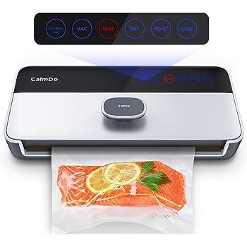 Machine Sous Vide Automatique, CalmDo 6 en 1 Appareil de Mise Sous Vide Alimentaire Professionnel avec Écran Tactile LED et 1 Rouleau de Sac sous Vide pour Conserver des Aliments