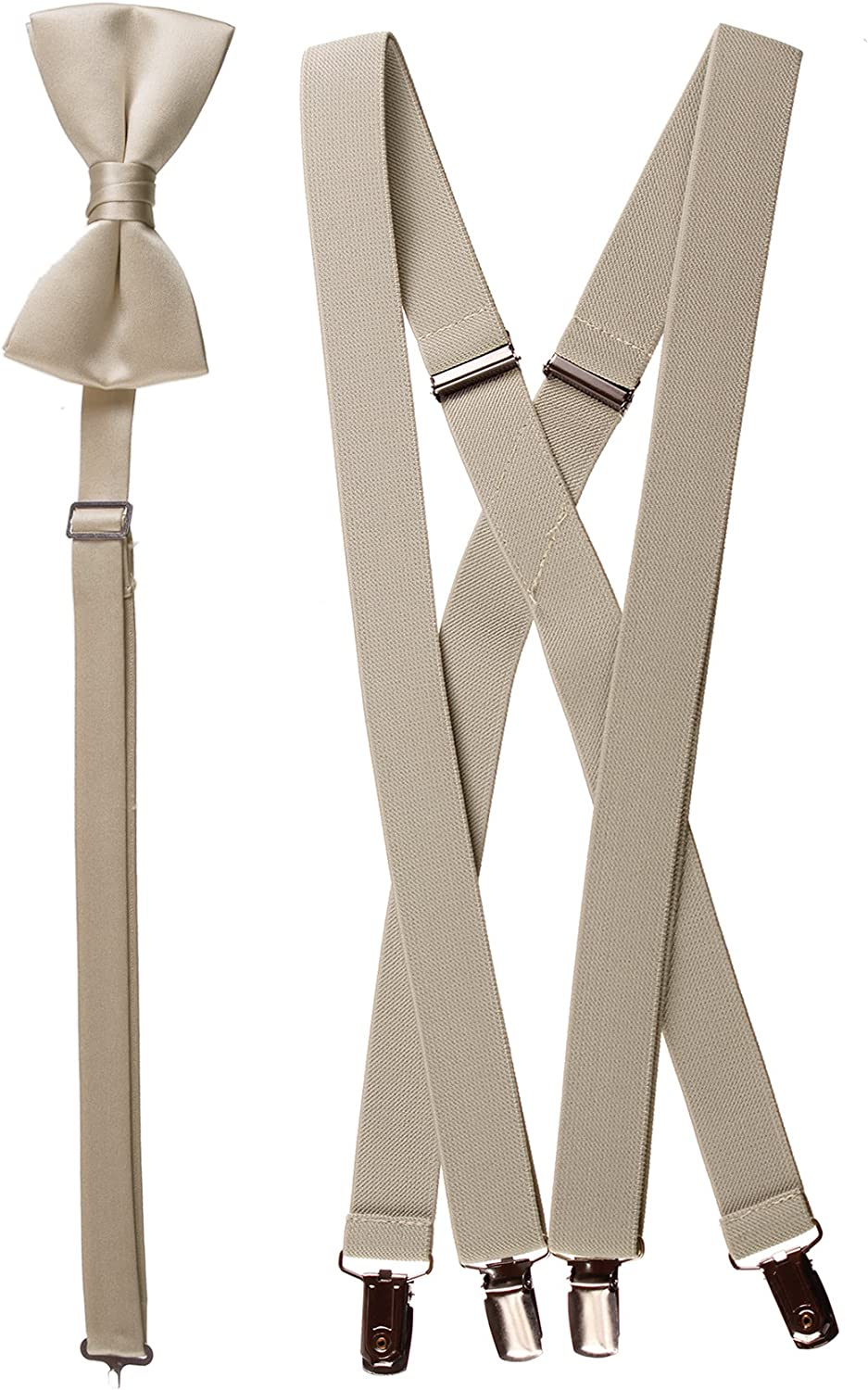Matching Tan Adjustable Suspender and Bow Tie Sets, Kids to Adults Sizing