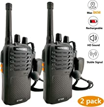 Walkie Talkies Rechargeable Long Range 8Km-FRS Two Way Radio Walky Talky with Earpiece and Mic Set,Flashlight SOS Alarm Functions Included-2 Pack