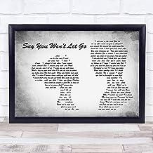 Impresión con cita de canción gris con texto en inglés