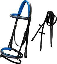 ExionPro Dark Blue Bling Browband & Snaffle Noseband Bling Bridle with Dark Blue Lined Crown Piece & Rubber Reins | Browbands with Bling | Bling Browbands | English Tack for Horses | English Tack