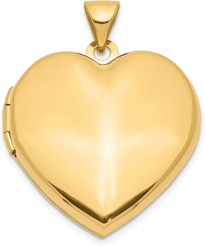 14k Yellow Gold Plain Heart 26x21mm Arlington Mall Store Family Locket
