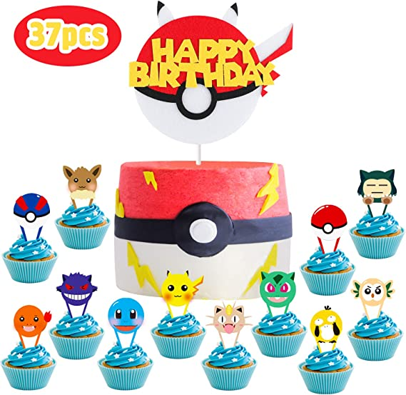MALLMALL6 37Pcs Pikachu Cupcake Toppers Cake Topper Birthday Party Supplies Cakes Decoration Set Anime Cartoon Trainers Themed Dessert Decorations Video Game Inspired Party Favors for Kids Boys Girls
