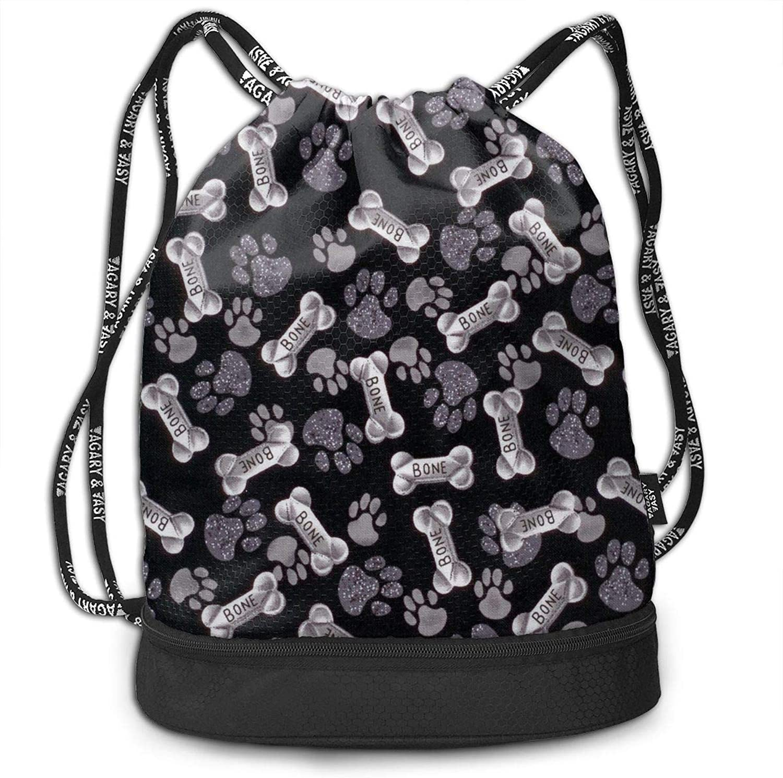 Gymsack Dog Footprint and Bones Print Drawstring Bags  Simple Bundle Pocket Backpack