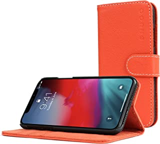 Snugg iPhone X Case, Orange Leather Flip Case [Card Slots] Executive Apple iPhone X Wallet Case Cover and Stand - Legacy Series